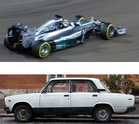 Both cars, NOT the same.